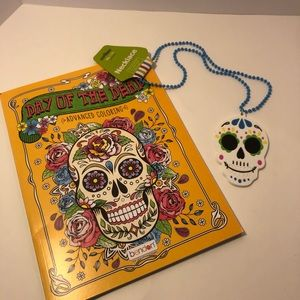 Day of the Dead skull necklace & coloring book